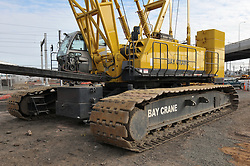 Bay Crane on Site at New Haven Rail Yard, Independent Wheel True Facility Constuction. CT-DOT Project # 0300-0139, New Haven CT. Full Vertical Image of Rig in Place with Copy Space..Excess Progress Photograph of Construction Shoot 8 on 14 February 2012.Image No. 53