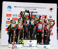 Skiskyting<br /> VM 2015<br /> Kontiolahti - Finland<br /> 05.03.2015<br /> Foto: Gepa/Digitalsport<br /> NORWAY ONLY<br /> <br /> Mix-stafett<br /> IBU World Championships, relay 2x6km ladies and 2x7.5km men, mixed team flower ceremony. Image shows Johannes Thingnes Bø, Fanny Welle-Strand Horn, Tiril Eckhoff and Tarjei Bø (NOR).<br /> <br /> IBU World Championships, relay 2x6km ladies and 2x7.5km men, mixed team, flower ceremony. Image shows the podium with the teams FRA, CZE and NOR.