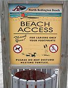 Environmental sign on the Gulf of Mexico beach.  North Redington Beach Tampa Bay Area Florida USA