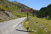 France - Monday, Jul 21 2008: A sign showing the Route de la Bonette. This is the highest paved road in Europe. Tour de France 2008. (Photo by Peter Horrell / http://www.peterhorrell.com)