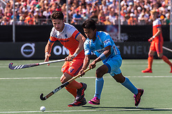 (L-R) Robbert Kemperman of The Netherlands, Vivek Prasad of India during the Champions Trophy match between the Netherlands and India on the fields of BH&BC Breda on June 30, 2018 in Breda, the Netherlands