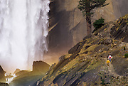 Hikers on the Mist Trail below Vernal Fall, Yosemite National Park, California USA