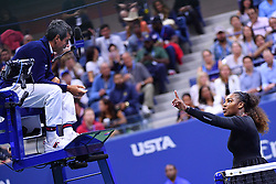 September 8, 2018 - New York, USA - SERENA WILLIAMS of the USA argues with umpire CARLOS RAMOS during her US Open Women's Final match against Naomi Osaka of Japan. Osaka won the final 2:0. (Credit Image: © Panoramic via ZUMA Press)