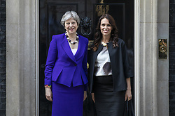 April 18, 2018 - London, London, UK - London, UK. Prime Minister Theresa May (L) and Prime Minister of New Zealand Jacinda Ardern outside 10 Downing Street. (Credit Image: © Rob Pinney/London News Pictures via ZUMA Wire)