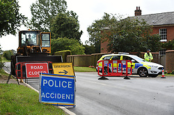 The scene in Wymondham Road in Hethel, near Norwich, where a pedestrian was struck by a marked police van responding to a 999 call.