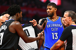 March 9, 2019 - Los Angeles, CA, U.S. - LOS ANGELES, CA - MARCH 08: Oklahoma City Thunder Forward Paul George (13) and Los Angeles Clippers Guard Patrick Beverley (21) have a disagreement during a NBA game between the Oklahoma City Thunder and the Los Angeles Clippers on March 8, 2019 at STAPLES Center in Los Angeles, CA. (Photo by Brian Rothmuller/Icon Sportswire) (Credit Image: © Brian Rothmuller/Icon SMI via ZUMA Press)