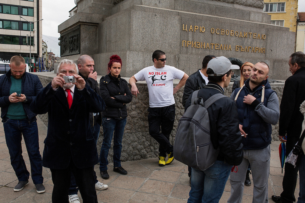 """A rally that gave Dinko Valev a """"medal of honor"""" in Sofia, Bulgaria. A man wearing a t-shirt reading """"No Islam in Europe"""".<br /> <br /> Matt Lutton / Boreal Collective for VICE"""