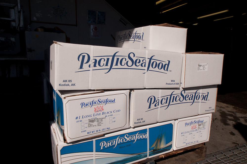 Long Line Black Cod Ready for Shipping at Pacific Seafood, Kodiak Island, Alaska, US