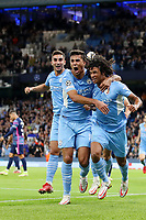 Football - 2021 / 2022 UEFA Champions League - Group A, Round One - Manchester City vs RB Leipzig - Etihad Stadium - Wednesday, 15th September 2021<br /> <br /> Nathan Ake of Manchester City celebrates scoring the opening goal with Rodri to make the score 1-0
