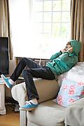 Zac Baker (11) in the Baker family living room. Pickwell Manor, Georgeham, North Devon, UK.<br /> CREDIT: Vanessa Berberian for The Wall Street Journal<br /> HOUSESHARE