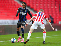 Middlesbrough's Djed Spence takes on Stoke City's James McClean<br /> <br /> Photographer Alex Dodd/CameraSport<br /> <br /> The EFL Sky Bet Championship - Stoke City v Middlesbrough - Saturday 5th December 2020 - bet365 Stadium - Stoke-on-Trent<br /> <br /> World Copyright © 2020 CameraSport. All rights reserved. 43 Linden Ave. Countesthorpe. Leicester. England. LE8 5PG - Tel: +44 (0) 116 277 4147 - admin@camerasport.com - www.camerasport.com