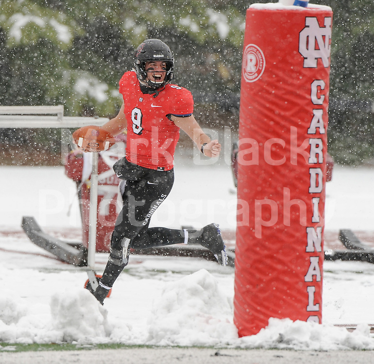 North Central College's Ethan Greenfield celebrate a touchdown against Hanover College on a snowy day during football on Saturday, Nov. 17, 2018 in in Naperville.<br /> <br /> (Photo by Mark Black Photography)