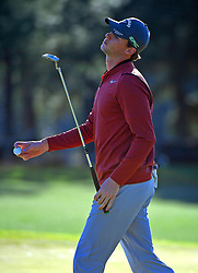 Thomas Pieters reacts to a missed putt on the 17th green during the second round of the Masters Tournament at Augusta National Golf Club in Augusta, Ga., on Friday, April 7, 2017. (Photo by Jeff Siner/Charlotte Observer/TNS)  *** Please Use Credit from Credit Field ***