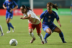PALEMBANG, Aug. 19, 2018  Ting Chi (R) of Chinese Taipei vies with Septiawati Tia Darti of Indonesia during the women's football Group A match between Chinese Taipei and Indonesia at the 18th Asian Games 2018 in Palembang, Indonesia, Aug. 19, 2018. (Credit Image: © Veri Sanovri/Xinhua via ZUMA Wire)