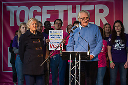 London, UK. 19 October, 2019. Lord Heseltine addresses hundreds of thousands of pro-EU citizens at a Together for the Final Say People's Vote rally in Parliament Square as MPs meet in a 'super Saturday' Commons session, the first such sitting since the Falklands conflict, to vote, subject to the Sir Oliver Letwin amendment, on the Brexit deal negotiated by Prime Minister Boris Johnson with the European Union.