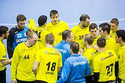 Ivan Vajdl, head coach of RK Gorenje with players during handball match between RK Gorenje Velenje (SLO) and Pfadi Winterthur (SUI) in Group Phase of EHF European Cup 2014/15, on March 8, 2015 in Rdeca dvorana, Velenje, Slovenia. Photo by Vid Ponikvar / Sportida