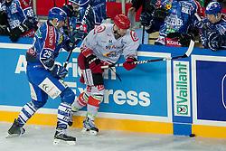 08.01.2012, Arena Zagreb, Zagreb, Kroatien, CRO, EBEL, KHL Medvescak Zagreb vs HK Acroni Jesenice, im Bild Joel Prpic (KHL Medvescak Zagreb, #29) vs Andrej Tavzelj (HK Acroni Jesenice, #44) // during ice-hockey match between KHL Medvescak Zagreb and HK Acroni Jesenice in 39th Round of EBEL league, on Januar 8, 2012 at Arena Zagreb, Zagreb, Croatia. EXPA Pictures © 2012, PhotoCredit: EXPA/ Sportida/ Matic Klansek Velej..***** ATTENTION - OUT OF SLO *****