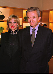 MR & MRS BERNARD ARNAULT he is president of LVMH Moet Hennessey-Louis Vuitton, at a party in London on 24th February 1998.MFP 15