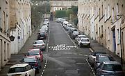 No Through Road road sign on steep Thomas Street, Walcot, Bath, England