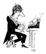 (A writer flexing his hands at the typewriter keyboard like a pianist before a performance)