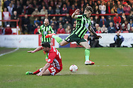 Jake Reeves midfielder for AFC Wimbledon (8) eaves Adam Buxton defender Accrington Stanley (22) challenge during the Sky Bet League 2 play-off 2nd leg match between Accrington Stanley and AFC Wimbledon at the Fraser Eagle Stadium, Accrington, England on 18 May 2016. Photo by Stuart Butcher.