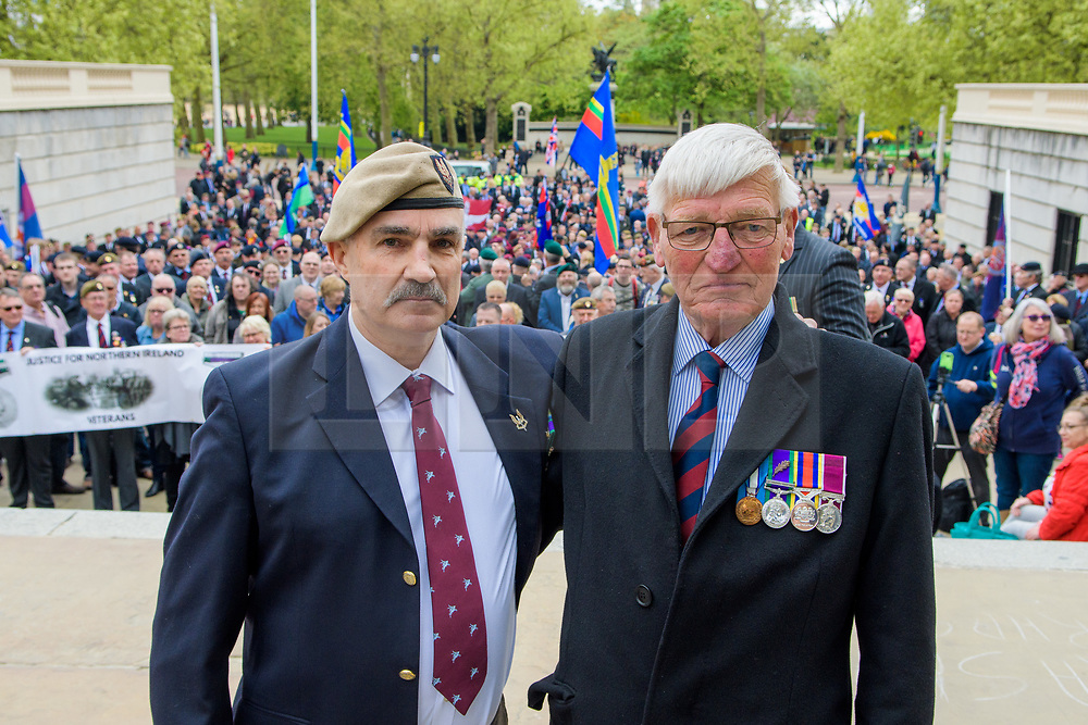 © Licensed to London News Pictures. <br /> 14/4/2017. London, Great Britain. <br /> Robin Horsfall, former 22 SAS with Dennis Hutchings former Life Guard who is facing a murder charge during the Justice for Northern Ireland Veterans March in central London.<br /> They are protesting the prosecution of former Service men and women who served in Northern Ireland during the Troubles.<br /> Photo credit: Anthony Upton/LNP