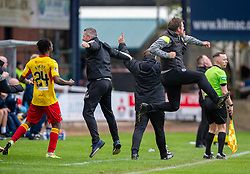 Partick Thistle's bench celebrates after Partick Thistle's Shea Gordon scored their second goal. Dundee 1 v 3 Partick Thistle, Scottish Championship game player 19/10/2019 at Dundee stadium Dens Park.