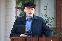 © Licensed to London News Pictures. 26/11/2016. London, UK. Labour party leader JEREMY CORBYN seen leaving his London home on the morning that the death of former Cuban leader, Fidel Castro was announced.  Photo credit: Ben Cawthra/LNP