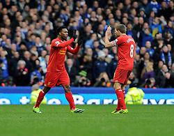 Liverpool's Daniel Sturridge celebrates his goal with Liverpool's Steven Gerrard - Photo mandatory by-line: Dougie Allward/JMP - Tel: Mobile: 07966 386802 23/11/2013 - SPORT - Football - Liverpool - Merseyside derby - Goodison Park - Everton v Liverpool - Barclays Premier League