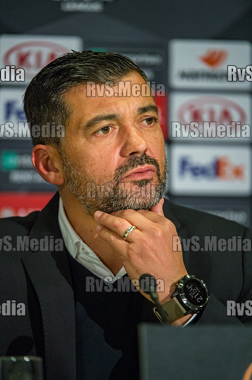 BERN, SWITZERLAND - NOVEMBER 28: Head Coach Sergio Conceicao of FC Porto looks on during the press conference after the UEFA Europa League group G match between BSC Young Boys and FC Porto at Stade de Suisse, Wankdorf on November 28, 2019 in Bern, Switzerland. (Photo by Robert Hradil/RvS.Media)