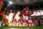 The Atlanta Falcons run onto the field prior to the NFL football NFC championship game against the Green Bay Packers, Sunday, Jan. 22, 2017, in Atlanta. The Falcons defeated the Packers 44-21. (Ryan Kang via AP)