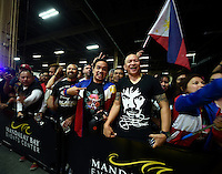 April 28.2015. Las Vegas NV. Manny  Pacquiao cheer as Manny arrives for the fans Tuesday at the Mandalay Bay. Manny  Pacquiao  will be fighting Floyd Mayweather Jr. the long awaited fight in May 2nd at the MGM grand hotel.<br /> Photo by Gene Blevins/LA DailyNews