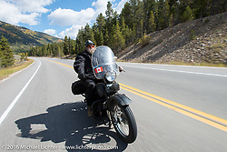 Bob Priske riding his 1932 Harley-Davidson V during on Colorado Highway 91 to Leadville during Stage 10 (278 miles) of the Motorcycle Cannonball Cross-Country Endurance Run, which on this day ran from Golden to Grand Junction, CO., USA. Monday, September 15, 2014.  Photography ©2014 Michael Lichter.