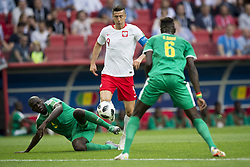 June 19, 2018 - Moscow - Robert Lewandowski of Poland and Kalidou Koulibaly of Senegal in action during the 2018 FIFA World Cup Group H match between Poland and Senegal at Spartak Stadium in Moscow, Russia on June 19, 2018  (Credit Image: © Andrew Surma/NurPhoto via ZUMA Press)