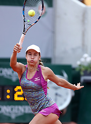 June 5, 2018  - Paris, France - YULIA PUTINTSEVA of Kazakhstan returns a shot during the women's singles quarterfinal match against Madison Keys of the United States at the French Open Tennis Tournament 2018 in Paris, France on June 5, 2018. Putintseva lost 0-2. (Credit Image: © Luo Huanhuan/Xinhua via ZUMA Wire)