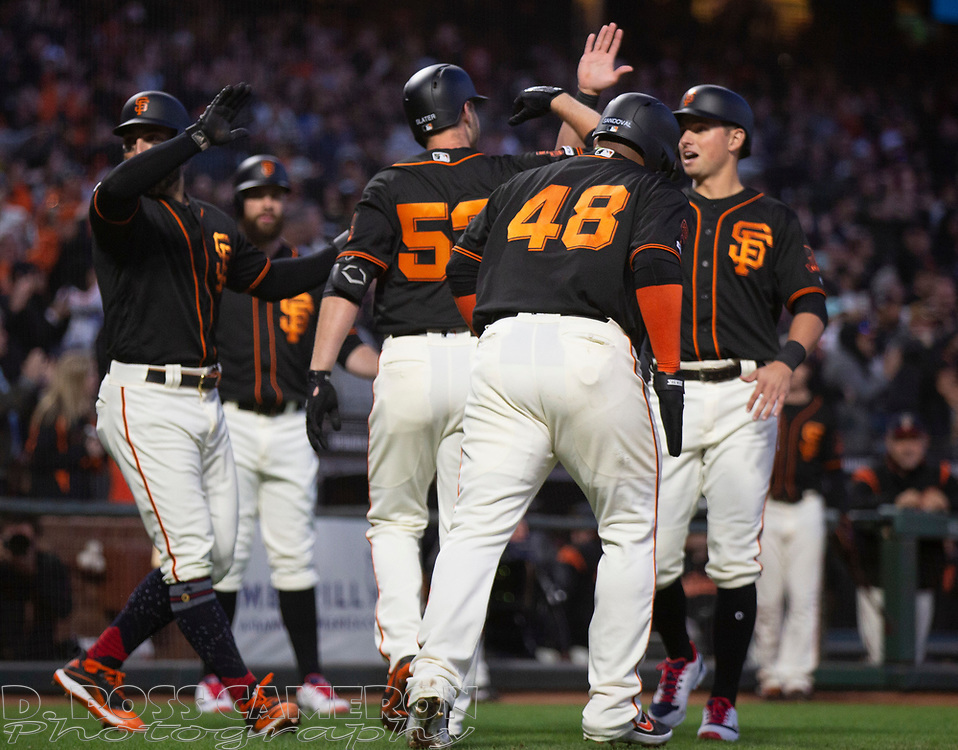 Jul 6, 2019; San Francisco, CA, USA; San Francisco Giants pinch hitter Austin Slater (53) is greeted by his teammates after hitting a pinch hit grand slam against the St. Louis Cardinals during the fourth inning of a baseball game at Oracle Park. Mandatory Credit: D. Ross Cameron-USA TODAY Sports