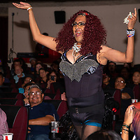 Desha entertains the packed house at the El Morrow Theatre Saturday evening for the True Colors Drag Show for Gallup PRIDEfest by performing Ke$sha's song Blow.