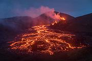 The volcanic eruption in Geldingadalir, Fagradalsfjall on the Reykjanes peninsula, Southwest Iceland