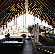 The interior of Guillaume at Bennelong, a fine dining restaurant located in the Southern most shell of the Sydney Opera House..