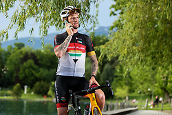 Rider Grega Bole with his mobile, on June 4, 2021, in Bled, Slovenia.  Photo by Grega Bole