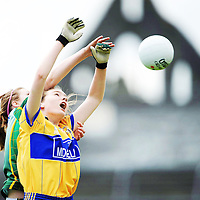4 May 2008; Fiona Lafferty, Clare, in action against Olive McCafferty, Donegal. Suzuki Ladies NFL Division 2 Final, Clare v Donegal, Cusack Park, Ennis, Co. Clare. Picture credit: Ray McManus / SPORTSFILE *** NO REPRODUCTION FEE ***