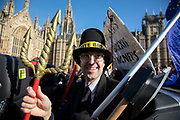 Peoples Vote supporter as Jacob Rees Mogg as Anti Brexit pro Europe demonstrators protest in Westminster opposite Parliament as MPs debate and vote on amendments to the withdrawal agreement plans on 14th February 2019 in London, England, United Kingdom.