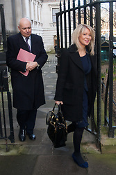 London, February 24th 2015. Ministers arrive at the weekly cabinet meeting at 10 Downing Street. PICTURED: Secretary of State for Work and Pensions Iain Duncan-Smith and Minister of State for Employment Esther McVey