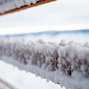 a rhime ice covered handrail at 10,000 feet above sea level.
