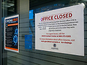 """24 MARCH 2020 - DES MOINES, IOWA: The US Citizenship and Immigration Services (USCIS) is closed because of the coronavirus. On Tuesday morning, 24 March, Iowa reported over 120 confirmed cases of the Coronavirus (SARS-CoV-2) and COVID-19. Restaurants, bars, movie theaters, places that draw crowds are closed for at least 30 days. The Governor has not ordered """"shelter in place""""  but several Mayors, including the Mayor of Des Moines, have asked residents to stay in their homes for all but the essential needs. People are being encouraged to practice """"social distancing"""" and many businesses are requiring or encouraging employees to telecommute.      PHOTO BY JACK KURTZ"""