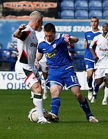 Photo: Steve Bond/Richard Lane Photography. Leicester City v Carlisle United. Coca Cola League One. 04/04/2009. Matty Fryatt (R) gets past Graham Kavanagh (L)