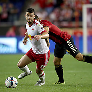 HARRISON, NEW JERSEY- OCTOBER 15: Felipe Martins #8 of New York Red Bulls challenged by Kevin Kratz #8 of Atlanta United during the New York Red Bulls Vs Atlanta United FC, MLS regular season match at Red Bull Arena, Harrison, New Jersey on October 15, 2017 in Harrison, New Jersey. (Photo by Tim Clayton/Corbis via Getty Images)