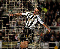 Photo: Jed Wee.<br /> Newcastle United v Aston Villa. The Barclays Premiership. 31/01/2007.<br /> <br /> Newcastle's Steven Taylor ends up ends up entangled in the back of his own goal following a desperate goal line clearance.