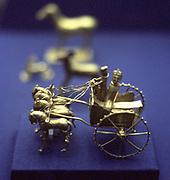 Gold model chariot from the Oxus treasure. Achaemenid Persian, 5-4th century BC. Takht-l-Kuwad region. Tadjikistan.