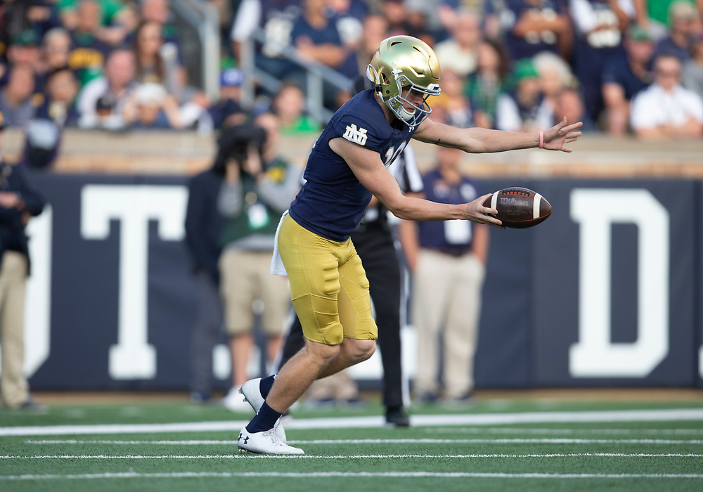 September 28, 2019:  Notre Dame kicker Jonathan Doerer (39) during NCAA football game action between the Virginia Cavaliers and the Notre Dame Fighting Irish at Notre Dame Stadium in South Bend, Indiana.  Notre Dame defeated Virginia 35-20.  John Mersits/CSM.